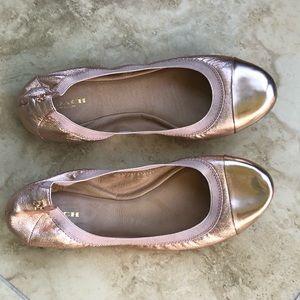 COACH Dalia Ballet Flats 9.5 Rose Gold Metallic